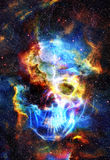 Skull and fractal effect. Color space background Royalty Free Stock Image