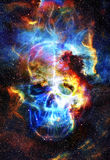 Skull and fractal effect. Color space background Stock Photography