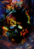 Skull and fractal effect. Color space background Stock Photo