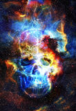 Skull and fractal effect. Color space background Royalty Free Stock Images