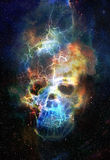 Skull and fractal effect. Color space background Royalty Free Stock Photos