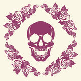 Skull in the frame of roses Stock Photography