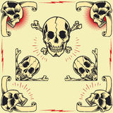 Skull Frames. In old school tattoo style set 03 vector illustration