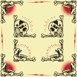 Skull Frames. Skull and Rose Frames in old school tattoo style set 02 stock illustration