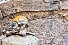 Skull in front of church in Spaccanapoli, Naples Royalty Free Stock Images