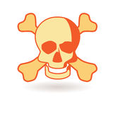 Skull. Funny sign. Icon death. Volumetric bone with shadow Royalty Free Stock Photo