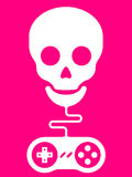 Skull with gamepad. Pink background Stock Image