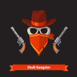 Skull gangster in stetson hat with revolver guns Stock Photos