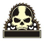 Skull 3 gear emblem Stock Photography