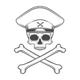 Skull with general hat and cross bones. Dead crazy Stock Photo