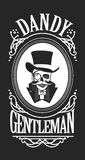 Skull gentleman in the cylinder in a frame Stock Image