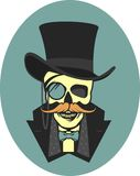 Skull gentleman in the cylinder Stock Photography