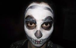 Skull girl on black background Stock Photo