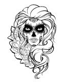 Skull girl and flowers. Royalty Free Stock Photography
