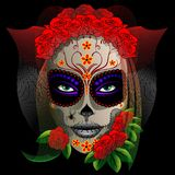 Skull Girl Halloween Portrait. Creepy Halloween Girl Portrait, with the face painted as a Skull, and ornaments like a Bride; looking like a Corps Bride. Vector Stock Images