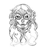 Skull girl illustration royalty free stock photos