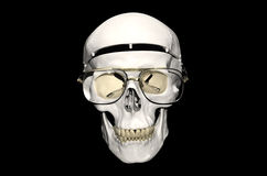Skull with glasses. Bone head detail with glasses Royalty Free Stock Photography