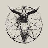 Skull of goat and pentagram Royalty Free Stock Photo