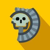 Skull the god of death of Aztecs icon, flat style Stock Photo