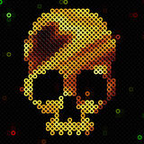 Skull gold. Beads, sequins. Shiny. Stock Photo