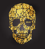 Skull of gold glittering stars Royalty Free Stock Images