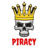 Skull in golden king crown cartoon symbol Stock Photography
