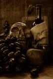 Skull and grape wine Royalty Free Stock Photos
