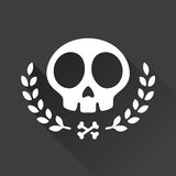 Skull graphic. Skull illustration with laurel vine accents and crossbones Stock Photography