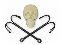 Skull with grappling hooks Royalty Free Stock Photography