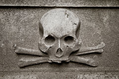 Skull at gravestone Royalty Free Stock Photo