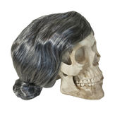 Skull with Gray Wig Stock Photo