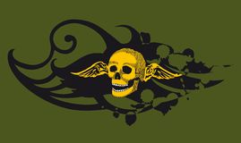 Skull green. This image will download as a .eps file and can be scaled to any size without loss of resolution.  . You will need a vector editor to use this file Stock Photo