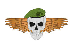 Skull in a green beret with wings Stock Photos