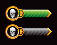 Skull on green and black arrows Royalty Free Stock Images
