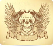 Skull with griffins and wings, hand-drawing.   Royalty Free Stock Photo