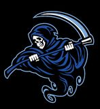 Skull of grim reaper with the sickle stock illustration