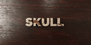 Skull - grungy wooden headline on Maple  - 3D rendered royalty free stock image Stock Image