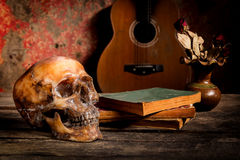 Skull and guitar,book on old wood, Stock Image