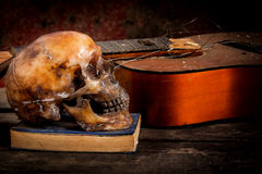 Skull and guitar,book on old wood, Royalty Free Stock Photo