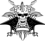 Skull with guitars. Vector image of a human skull with the crossed guitars and pattern Royalty Free Stock Photo