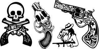 Skull and gun tattoo Stock Images