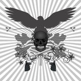 Skull with guns and flowers Stock Images