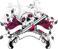 Skull Guns Roses T-Shirt Design. A rock design with blank banner areas for text for personalization Stock Photography