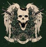 Skull and guns vector royalty free illustration