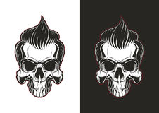 Skull with hair. Frontal skull with hair. Barbershop skull illustration on white and black backgrounds Stock Photo