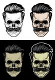 Skull with hair and mustache. Drawing skull with 4 style color Royalty Free Stock Photo