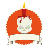 Skull halloween card icon Stock Images