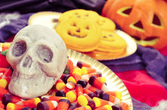 Skull and Halloween food Royalty Free Stock Photos