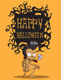 Skull halloween. orang background. Skull. Happy Halloween Monster hand drawing  image Royalty Free Stock Photo