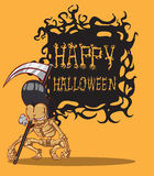 Skull halloween. orang background. Skull. Happy Halloween Monster hand drawing  image Stock Photography